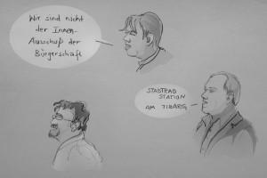 Grundrechte und StadtRad-Stationen boten Gesprächsstoff, Januar 2014, Illustration: Christine Klein