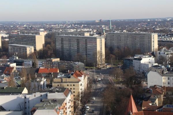 Die Grindelhochhäuser vom Geomatikum aus gesehen. Foto Eimsbütteler Nachrichten