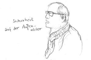 Redner in der Bezirksversammlung Eimsbüttel, 28.02.2014, Skizze: Christine Klein