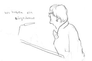 Bezirksversammlung Eimsbüttel, 28.02.2014, Skizze: Christine Klein
