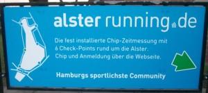 Nicht zu übersehen: ein Hinweis für (potentielle) Läufer. Foto: Berit Liedtke
