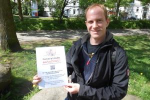 Kai Ammer ist für eine autofreie Osterstraße. Foto: Anja von Bihl