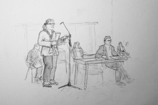 Zu Beginn kamen Bürger zu Wort. Zeichnung: Christine Klein, stratford2000.de