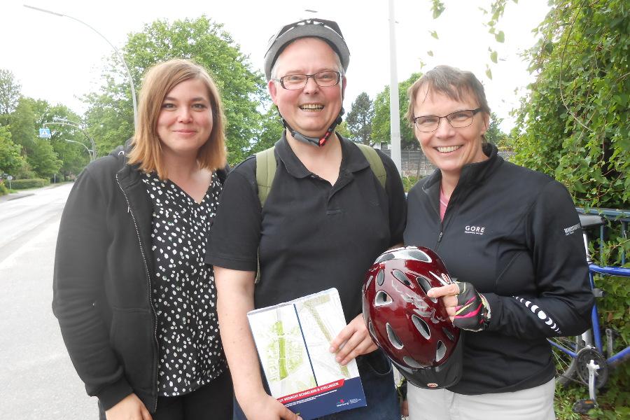 Katharina Fegebank, Volker Bulla und Anja Hajduk von den Grünen. Foto: Anja