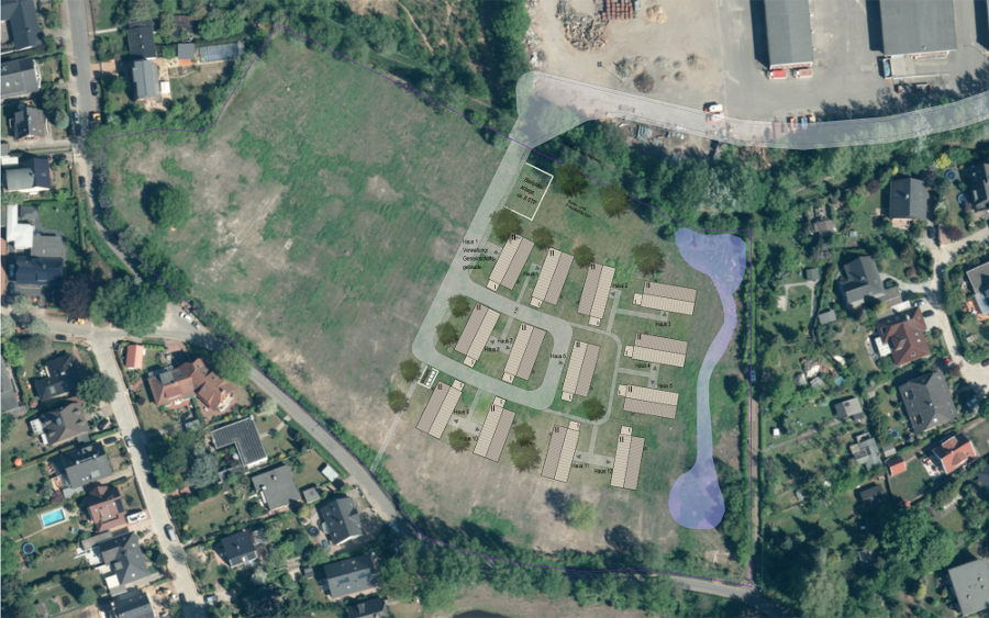 So sollen die Pavillons angeordnet werden. Quelle: www.maps.google.com / Schild Architekten