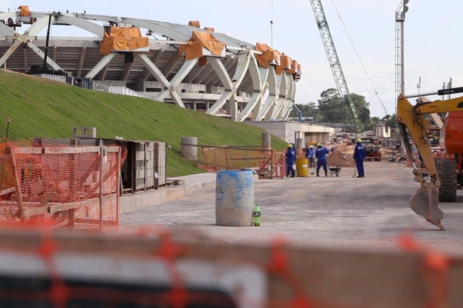 Dieses Foto zeigt die Arena da Amazônia (Manaus) im November 2013 aufgenommen. Foto: Felix Meschede