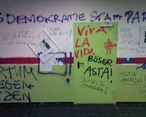 Verwüstung der AStA-Räumlichkeiten 2008. Foto: Moritz Gerlach
