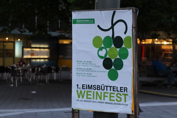 Ankündigung zum ersten Weinfest. Foto: Jan Hildebrandt