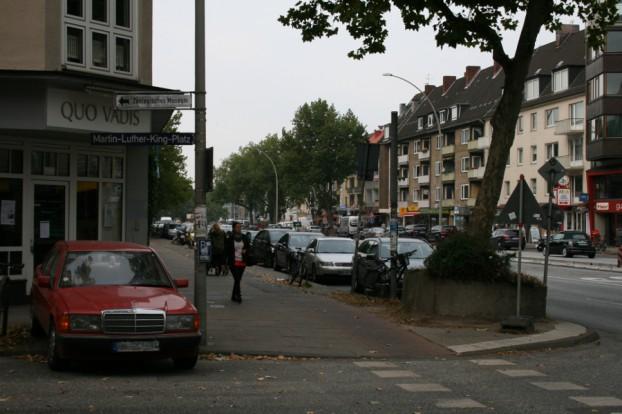 Grindelallee Ecke Martin-Luther-King-Platz. Foto: Anja von Bihl