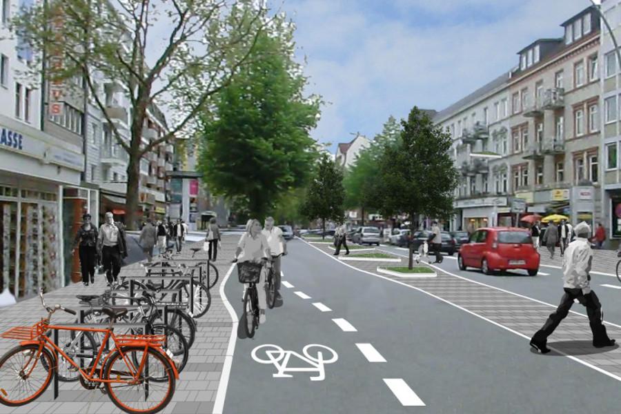 Die Fahrradfahrer sollen künftig auf der Straße fahren. Quelle: Argus