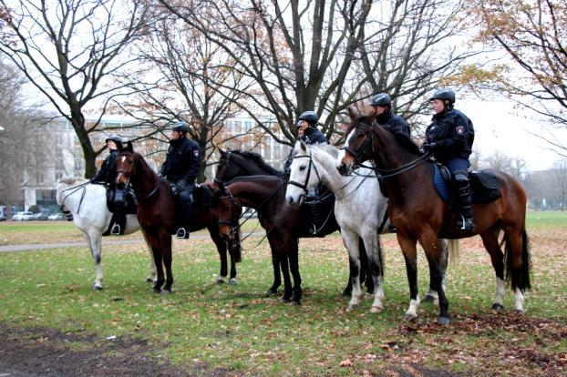 Reiterstaffel der Polizei im Park vor dem Bahnhof Dammtor. Symbolfoto: Lisa Eißfeldt