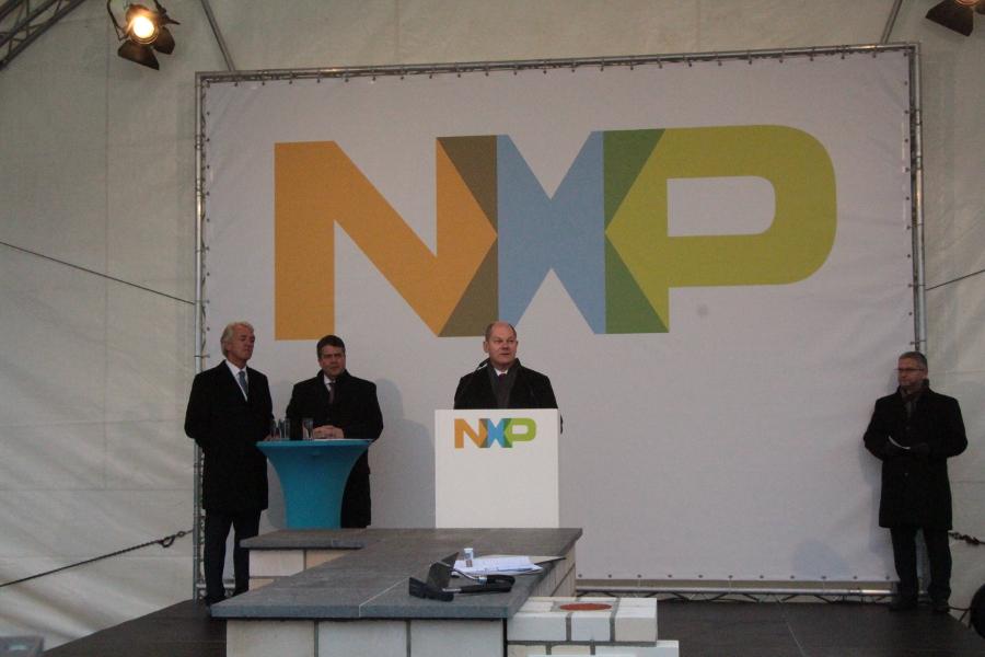 Olaf Scholz' Rede bei der NXP Grundsteinlegung. Foto: Lena Schnüpke
