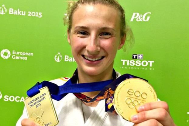 Martyna Trajdos freut sich über ihre Goldmedaille. Foto: DOSB