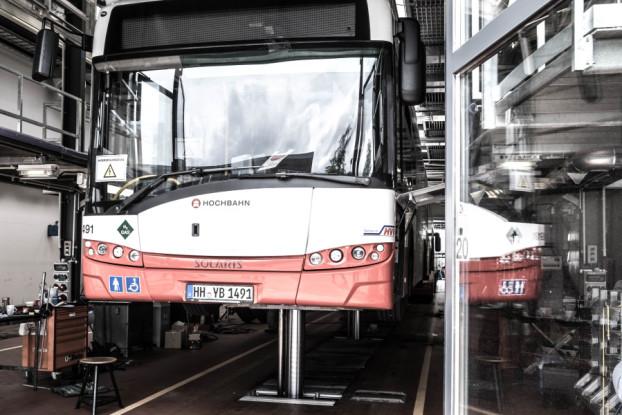 Das Betriebswerk Langenfeld ist die modernste Anlage der Stadt Hamburg. Insgesamt unterhält die Hochbahn AG neun Betriebshöfe. Foto: Dennis Imhäuser