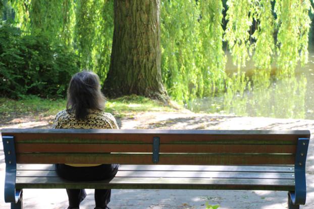 Diese Dame genießt den Sommer auf einer Parkbank am Weiher. Foto: Niklas Heiden