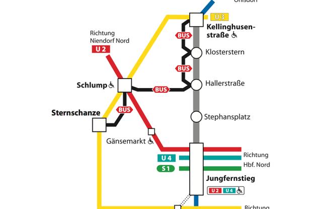 Ersatzplan der U1 vom 31.Juli bis zum 2. August 2015. Quelle: Hamburger Hochbahn AG