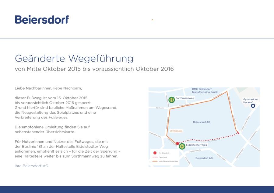 Beiersdorf verteilt am Weg entlang des Firmengeländes Handzettel. Der Weg wird für die Bauarbeiten gesperrt. Quelle: Beiersdorf