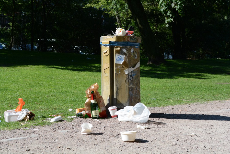 On days after the park has had many visitors, litter is often everywhere. Griscenco says he thinks that larger garbage cans and increasing the number of times the park is cleaned each week would help the problem, but Altona, the administrative district responsible for Schanzenpark's care, doesn't share Griscenco's beliefs. Foto: Chad Smith