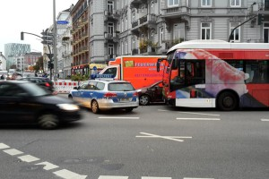 Auf der Grindelallee kam es zu einem Verkehrsunfall. Foto: Eimsbütteler Nachrichten