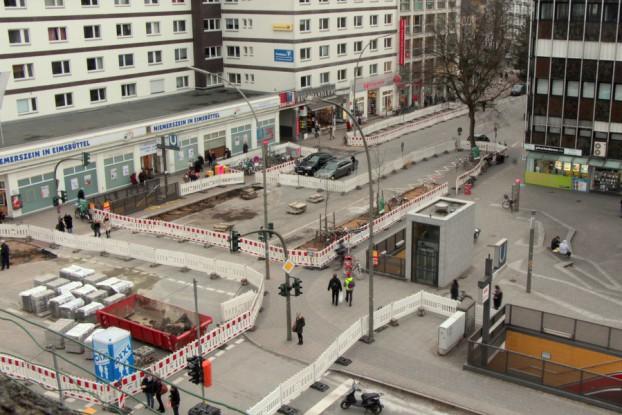 Abschnitt 3: Im Februar und März wurde die Kreuzung Ecke Heußweg saniert. Foto: Fiona Kleinert