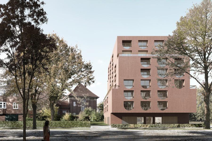 So sieht der erste Entwurf des geplanten Apartmenthauses von außen aus. Foto: Universität Hamburg