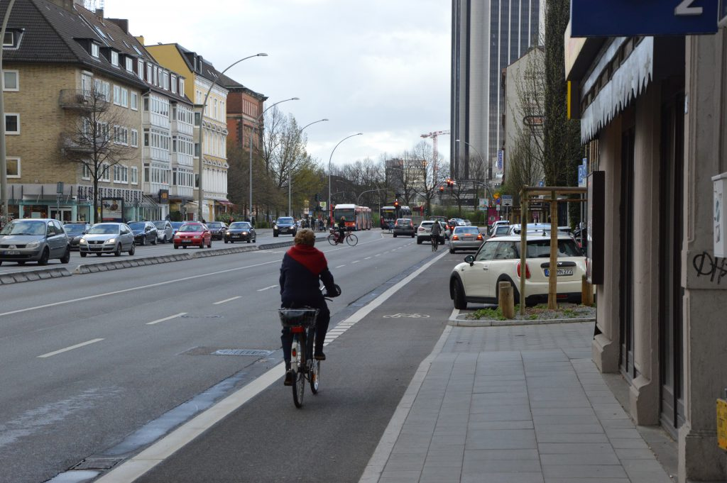 Neue Radwege in der Grindelallee