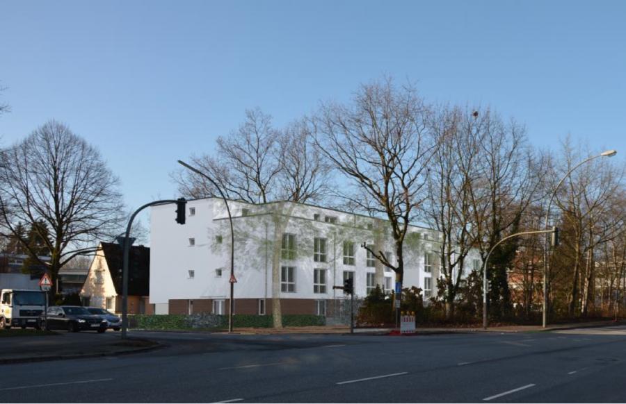 So soll das fertige Gebäude an der Ecke Große Bahnstraße/ Holstenkamp aussehen. Foto: Behörde für Arbeit, Soziales, Familie und Integration