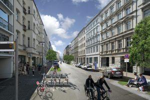 So stellt sich die Verkehrsbehörde den Straßenzug der Zukunft vor. Rechts die Vorrangflächen für Carsharing-Fahrzeuge. Visualisierung: BMW