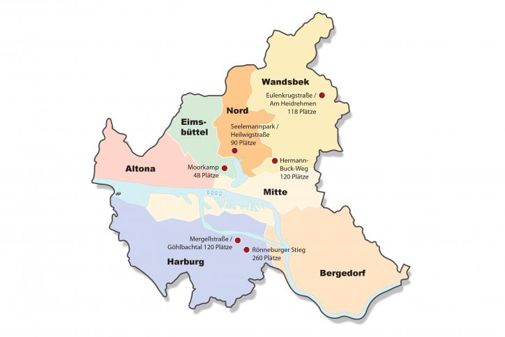 Gefunde Flächen in Hamburg für Flüchtlingsunterkünfte. Grafik: Daniel Posselt