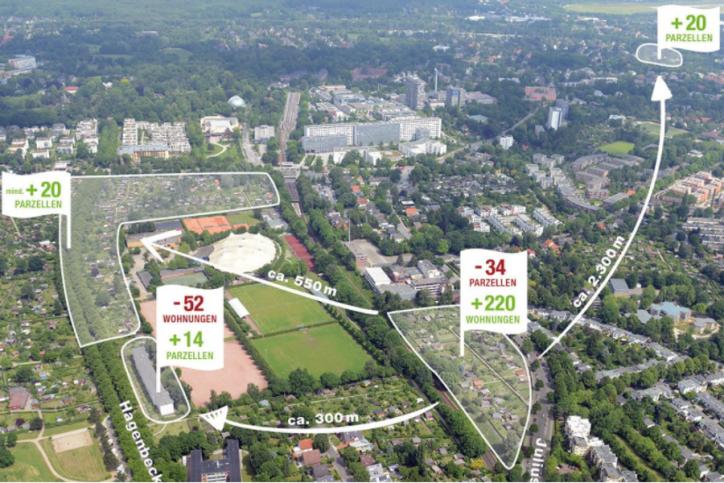Die Umsiedelungen für die neue Wohnungsbau an der Julius-Voesseler-Straße. Foto: Screenshot Quantum AG