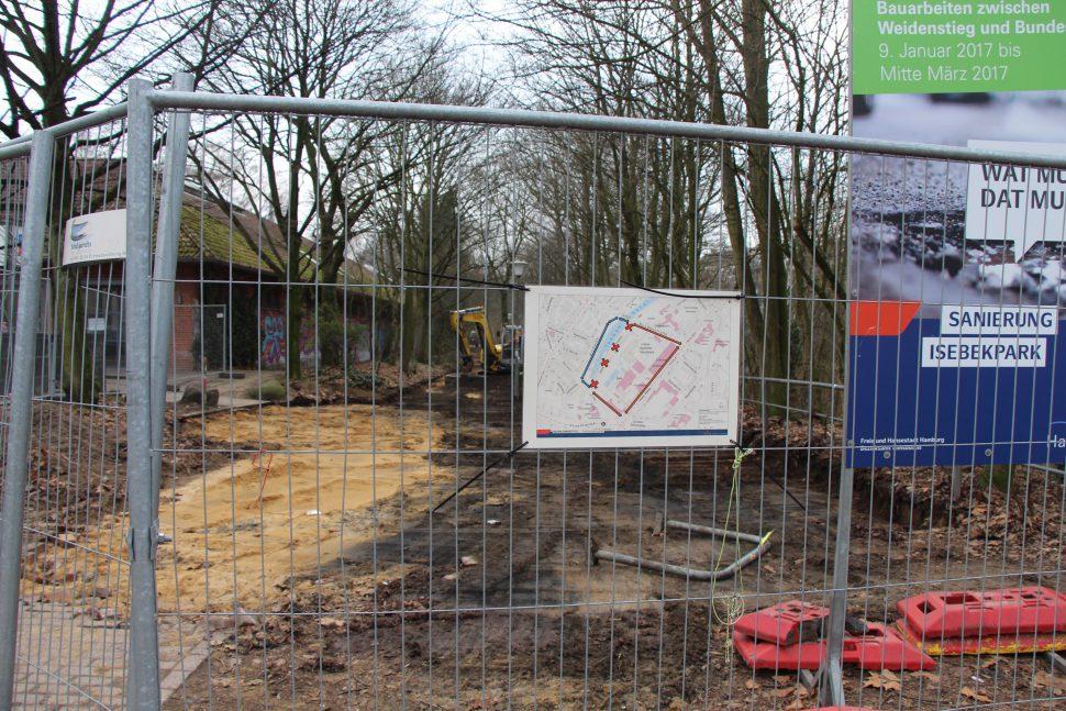 Die Bauarbeiten am Isebekpark haben begonnen. Foto: Carolin Martz