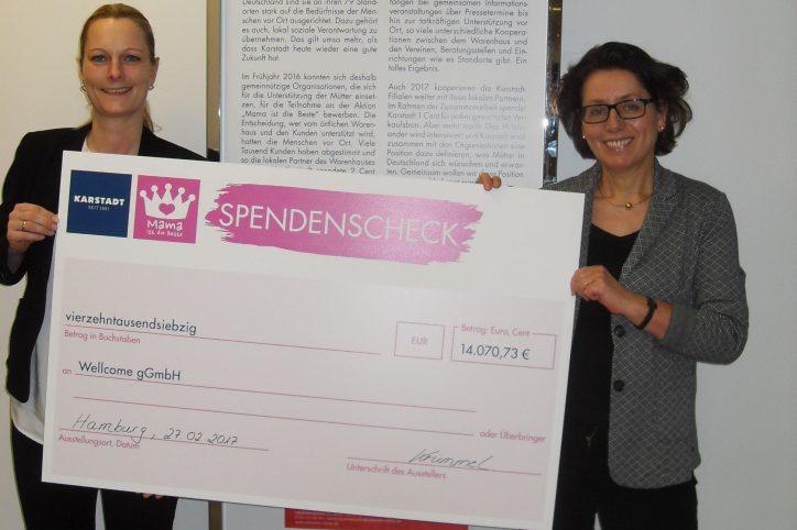 Karstadt spendet Geld an Wellcome GmbH. Foto: Karstadt Warenhaus GmbH