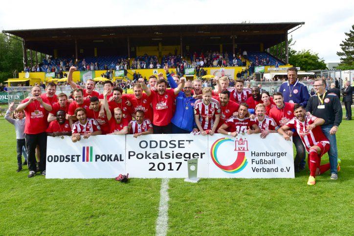 Eintracht Norderstedt gewinnt den ODDSET-Pokal 2017. Foto: HFV