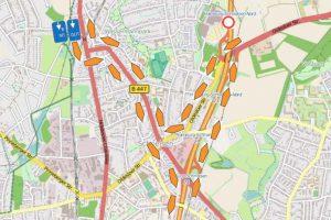 Karte der Umleitung für den aus Süden kommenden Verkehr. Foto: Via Solutions Nord GmbH & Co. KG