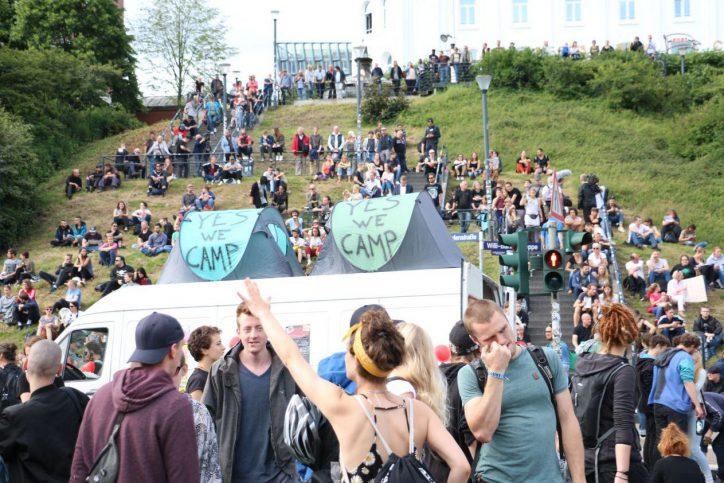 Landungsbrücken, Protest, Demonstranten, G20, G20-Gipfel