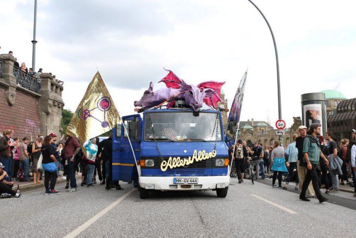 Demorave, Landungsbrücken, G20, G20-Gipfel, Protest, Demonstration