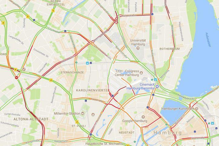 Die aktuelle Verkehrslage in Eimsbüttel und Umgebung. Foto: Google Maps