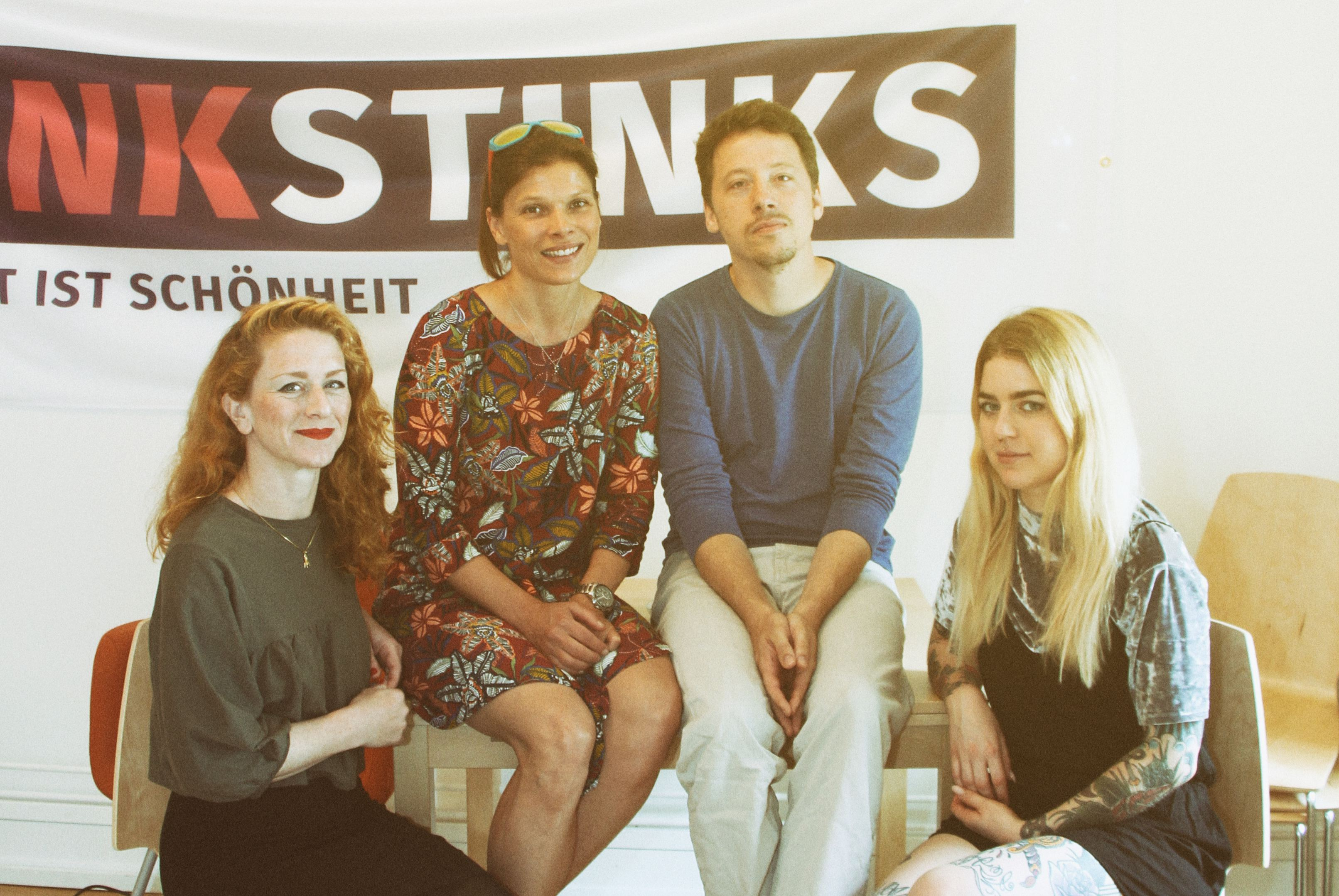 (V. l. n. r.) Ariane Lettow, Stevie Schmiedel, Nils Pickert und Gina Nicolini. Foto: Fabian Hennig