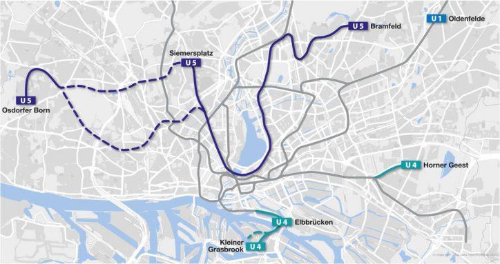 Der mögliche Linienplan der U5. Quelle: HVV