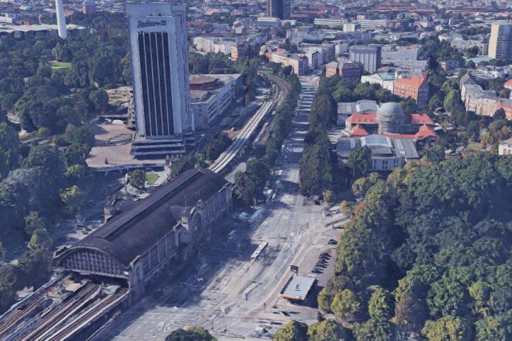 Uni-Hauptgebäude und der Dammtorbahnhof. Quelle: Bilder © 2017 Google, Kartendaten © GeoBasis-DE/BKG (©2009), Google