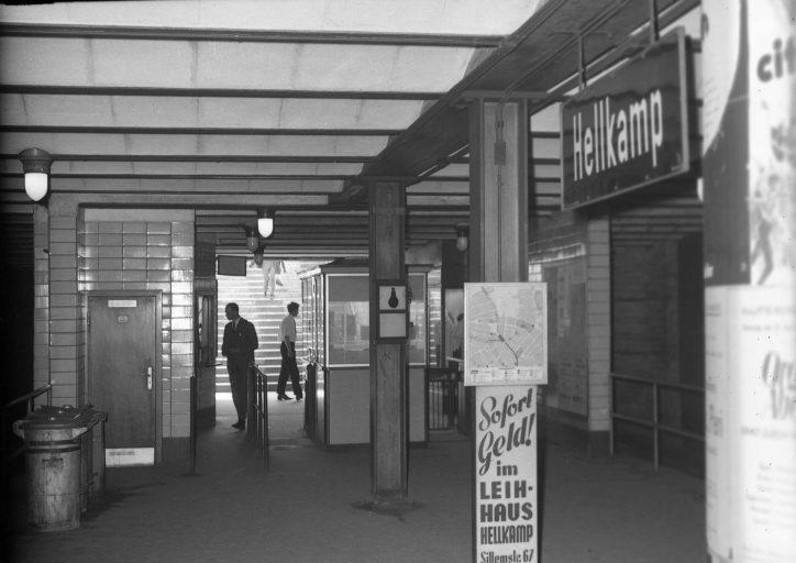 Die ehemalige U-Bahn Haltestelle Hellkamp. Foto: Archiv der Hamburger Hochbahn AG