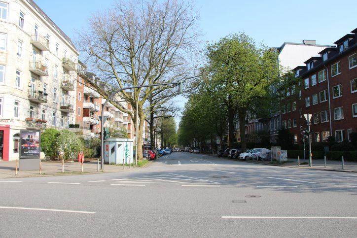 Ein Blick vom Eppendorfer Weg in die MAnsteinstraße. Foto: Robin Eberhardt