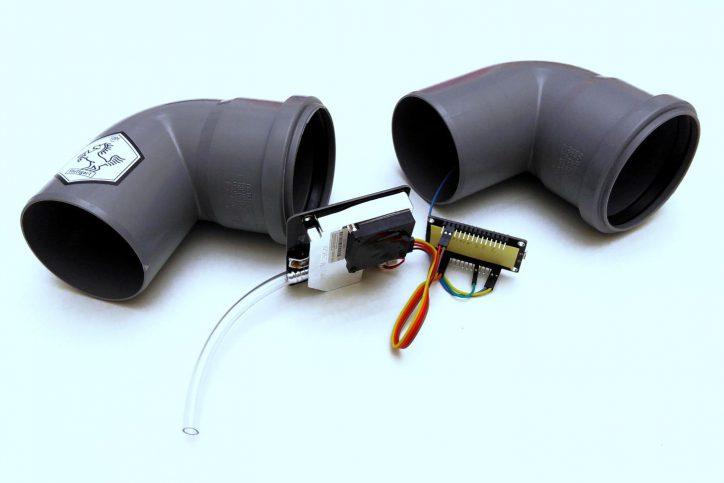 Der Feinstaubsensor mit seinen einzelnen Bauteilen. Foto: CodeforStuttgart/Ok Lab Stuttgart