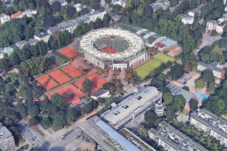 Das Tennis-Stadion am Rothenbaum. Foto: Bilder © 2017 Google, Kartendaten © GeoBasis-DE/BKG (©2009), Google