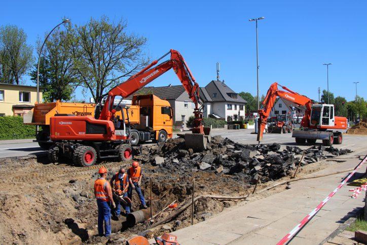 Verzögwerung auf der Baustelle in der Kollaustraße. Foto: Robin Eberhardt