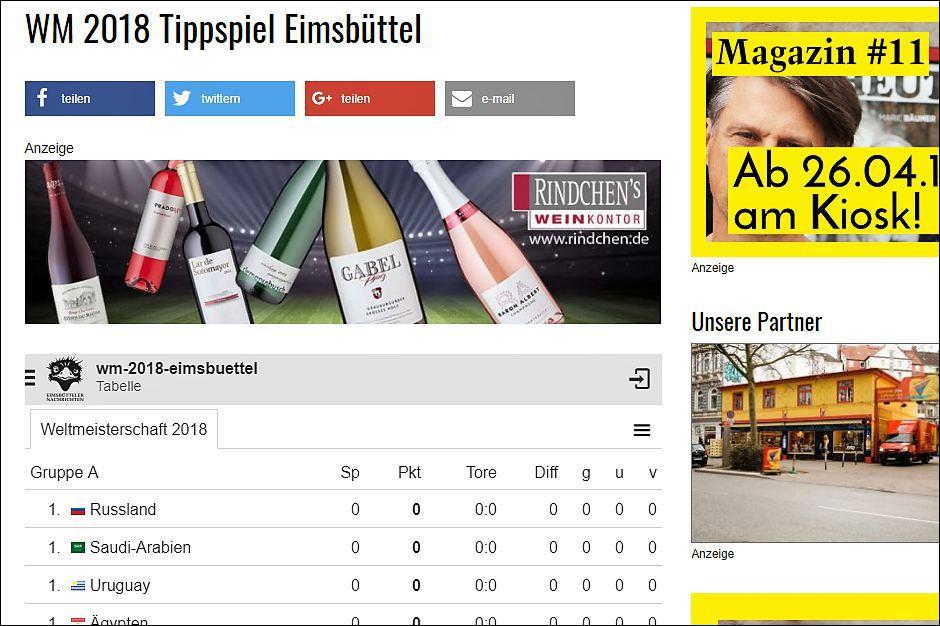Screenshot WM-Tippspiel. Foto: Eimsbütteler Nachrichten
