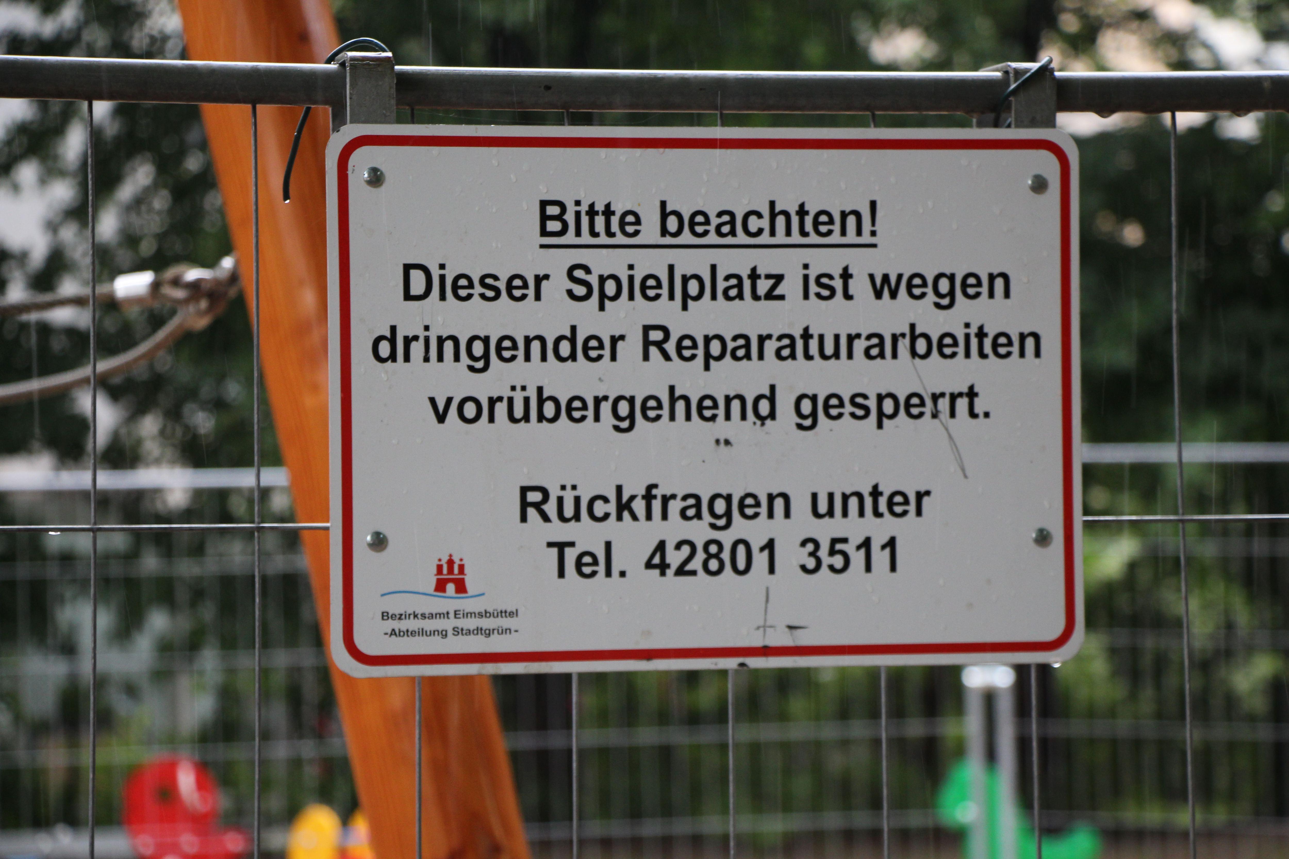 Spielplatz Telemannstraße: Klettergerüst bleibt vorerst gesperrt