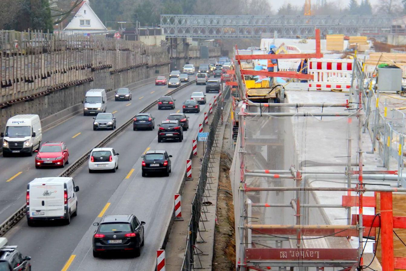 Autobahnausfahrt Volkspark gesperrt