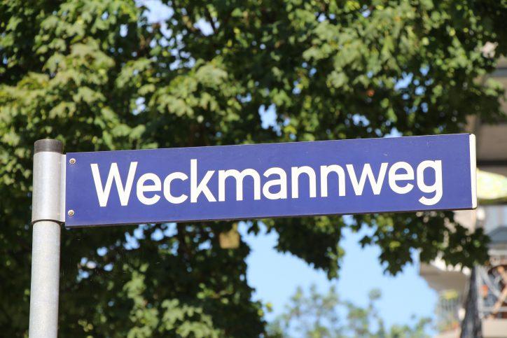 Straßenschild Weckmannweg. Foto: Robin Eberhardt