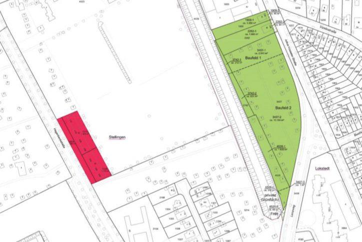 Die gestrichelte Linie trennt die beiden Baufelder. Oben ist das Baufeld 1 von der dhu. Quelle: FHH